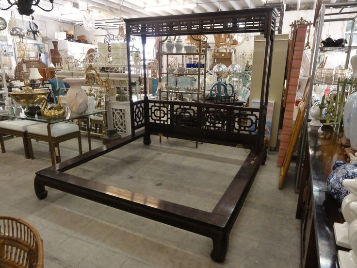 Best Vintage Chinese Chippendale Rattan Bamboo Canopy Bed