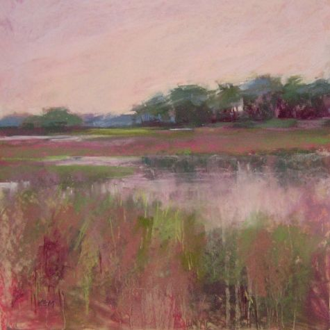 Morning Marsh 12x12 pastel, painting by artist Karen Margulis. Love seeing this one everyday.
