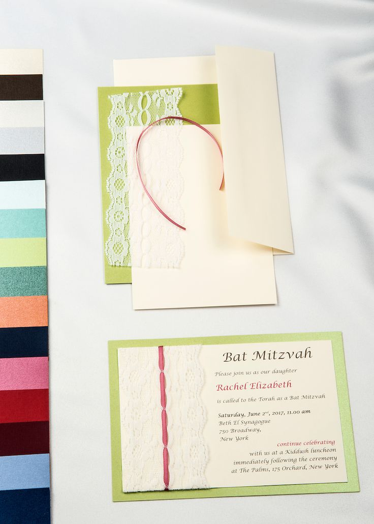 Lime Green Real Threaded Lace DIy Invitations With Cream Card Stock And  Envelope