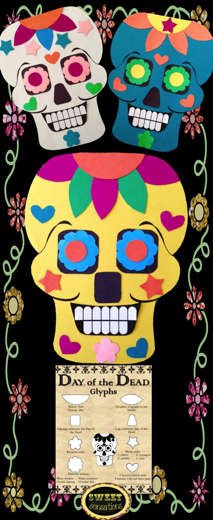 Day of the Dead Skulls: These look so amazing but they are really simple to put together.  Perfect for Dia de los Muertos - great for social studies and math with a glyph!  Makes a change from Halloween.