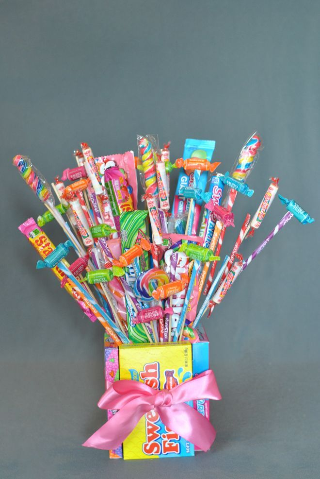 Learn how to make a cute candy bouquet, a fun treat for kids and adults alike! Get the step-by-step and pictures for making your own!