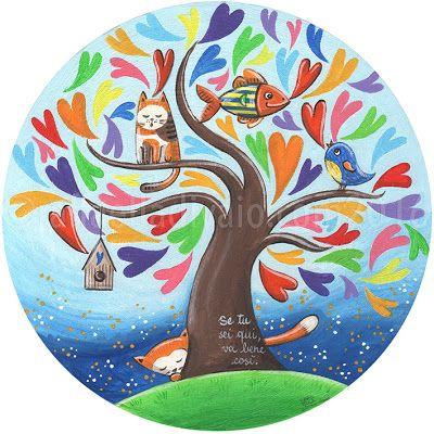 raffaelladivaio*illustrazione e creatività: SE TU SEI QUI,  VA BENE COSì. acrilico su cartone telato, diametro cm. 30 ©raffaelladivaio.com2016