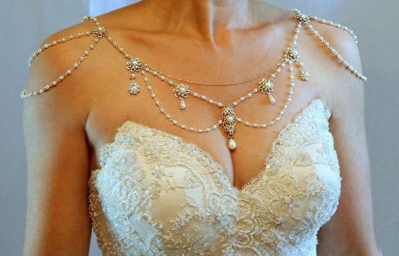 Halskette für Schultern, 20er Jahre Kulisse Halskette, Perlen, Strass, Gold und Perlen, OOAK Bridal Hochzeit Schmuck, Victorian, Efrat Davidsohn