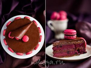Торт «Чуао» - Шоколадный бисквит без муки - Шоколадный ганаш с черной смородиной - Черная смородина в сиропе (ягоду можно брать замороженную, предварительно ее разморозив) - Шоколадный ганаш для покрытия