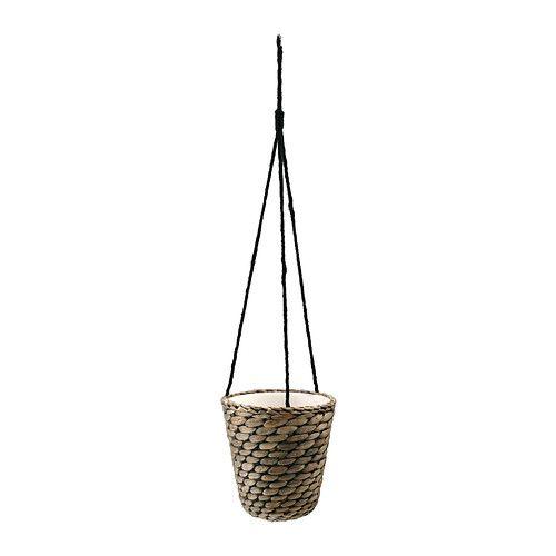 DRUVFLÄDER Hanging planter IKEA Handmade by a skilled craftsperson. A plastic inner pot makes the plant pot waterproof.