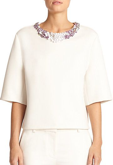3.1 Phillip Lim Beaded-Neck Oversized Neoprene Top on shopstyle.com