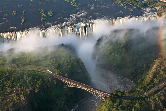 Victoria Falls Bridge -Zambia.  Bungee fans go over the bridge feeling the spray of the falls. From a height of 152 meters ensures indescribable feelings of freedom and the rush of adrenaline