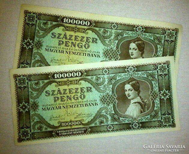 100000 Pengő Bankjegy  1945