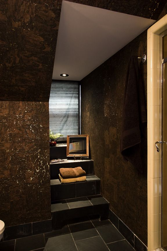 Designer Vanessa Deleon featured 4577 Java Cork color Ebony Cork with Gold in bathroom of the 2010 Mansions in May Showhouse, Harding Township, New Jersey.