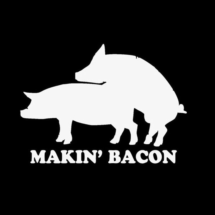 Makin' Bacon Vinyl Decal Sticker WHITE BLACK pig pork bbq sausage 022
