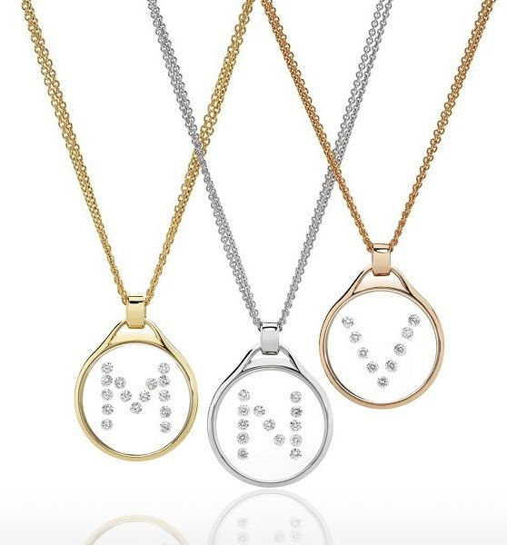 Vetro initial pendants from Giulians Fine Jewellery. These are custom made on the premises in 18ct white, rose, or yellow gold with round brilliant cut diamonds