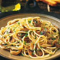 Weve added sautéed mushrooms to the classic and very simple spaghetti with garlic and oil, but the dish can still be made in no time at all. Regular white mushrooms are excellent here; portobellos or wild mushrooms would be great,