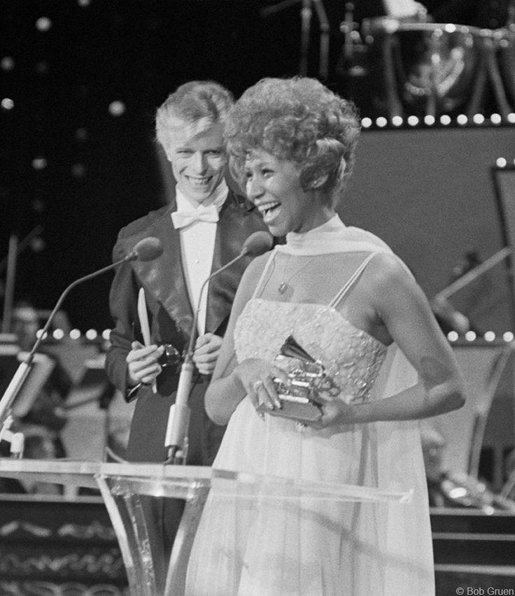 David Bowie and Aretha Franklin - Grammy Awards at Uris Theatre, NYC, March 1, 1975, by Bob Gruen www.morrisonhotelgallery.com