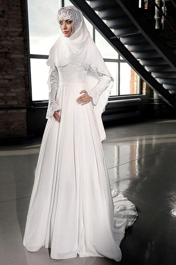 Vestidos De Novia Elegantes Classic High Neck Long Flare Sleeve Appliques Beaded Arabic Muslim Wedding Dresses Court Train MWD07