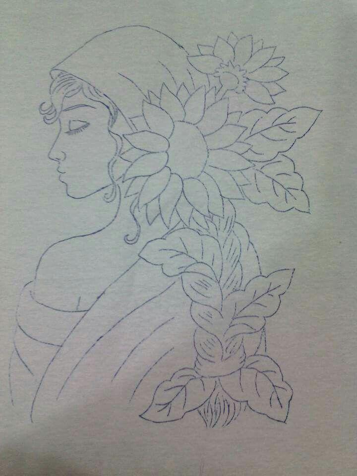 Señora con girasoles