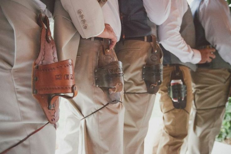 "leather beer holsters make really awesome groomsmen gifts!  they're engraved to say, ""BEST DUDES"" 