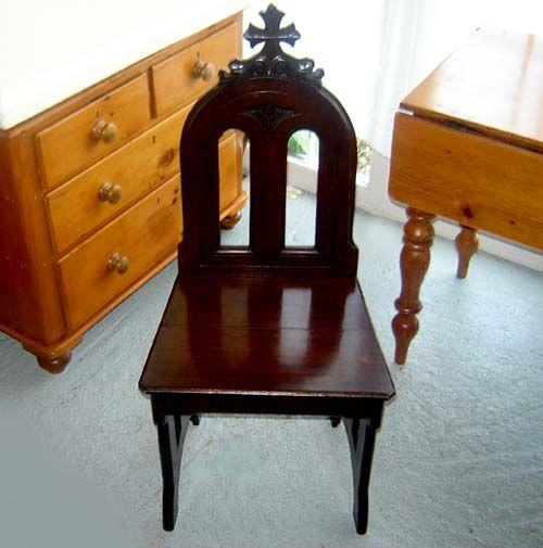 Antique 1890's Gothic Solid Oak Church Chair, £110.00
