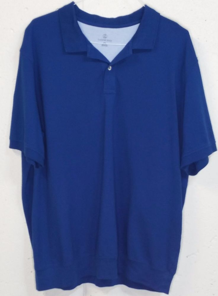 Lands End Mens Dark Royal Blue Pique 100% Cotton Short Sleeve Polo Shirt XXL 2XL #LandsEnd #PoloRugby