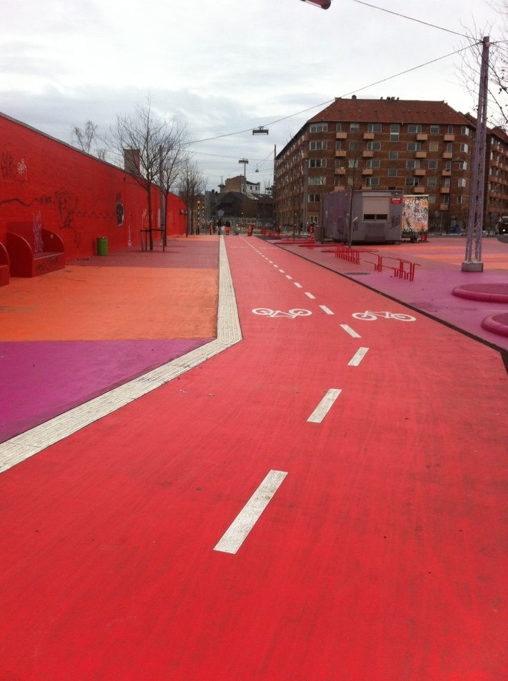 "Red biking lane, ""Superkilen"" in Copenhagen"