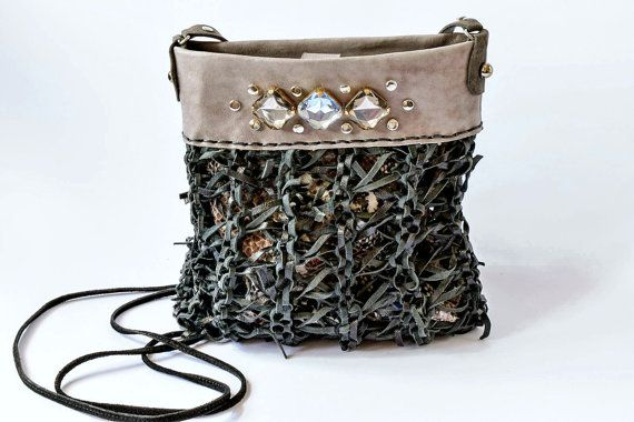 Grey black leather crossbody bag hipster crossover by Glad2Balive