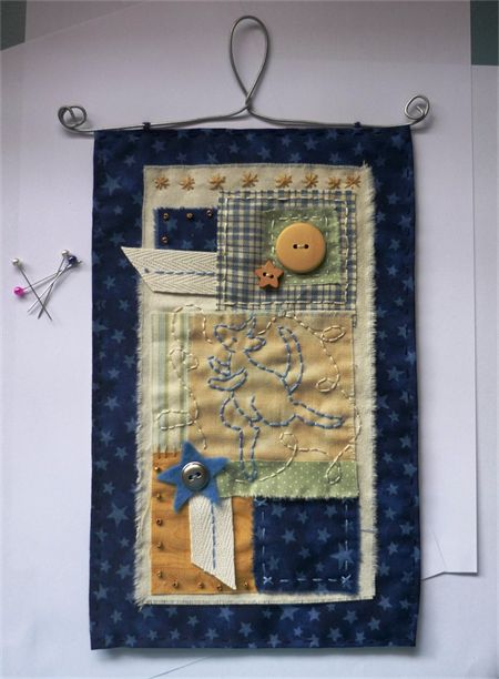 Shabby Nursery Hanging - original textile art by Maree Clark