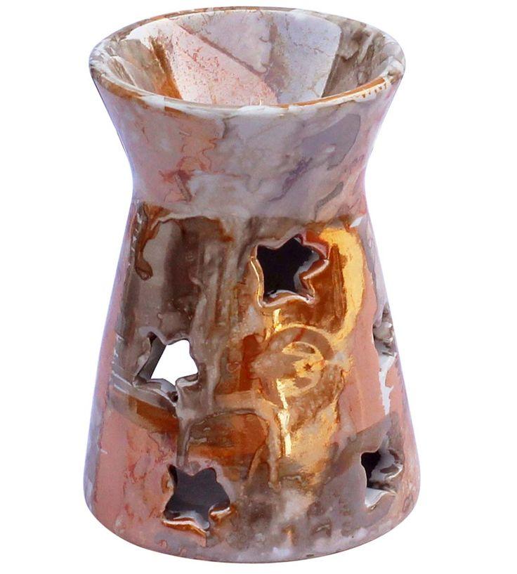 "Wholesale 4.5"" Essential Oil Diffuser - Bulk Buy Metallic-Sheen Glaze Orange & Sand Brown Ceramic Aromatherapy Wax Melt / Tart Warmer - Essential Fragrance Accessories"