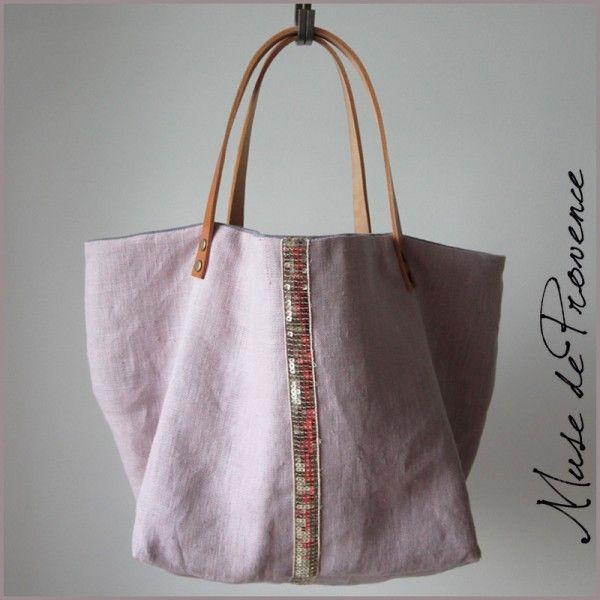 sac cabas en lin couleur vieux rose et paillettes d'or et anses cuir 1