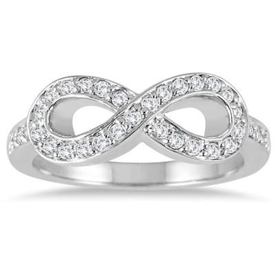 2/5 Carat Diamond Infinity Ring in 10K White Gold