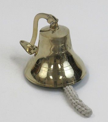 """""""US Navy"""" Decorative Nautical Solid Brass Ships Bell 7""""   eBay"""
