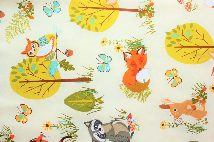 Cotton Fabric, Robert Kaufman, Forrest Fellows, Fox, Owl, Squirrle, Racoon, Deer, Woodland theme, Off white, Half Metre by TwoChubbyRabbits on Etsy
