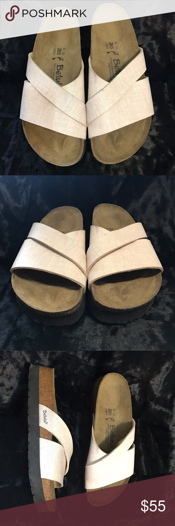 Birkenstock's Betula Sandals Betula Sandals made on the original Birkenstock Footbed.  Good preowned condition with footbed darkened  from wear.  Marks of wear on side of upper. Very comfortable. Betula by Birkenstock Shoes Sandals