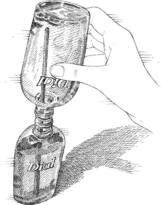 Insert a long chopstick into the neck of the newer bottle and invert the older bottle on top. The soap will cling to the chopstick and trickle down more readily.