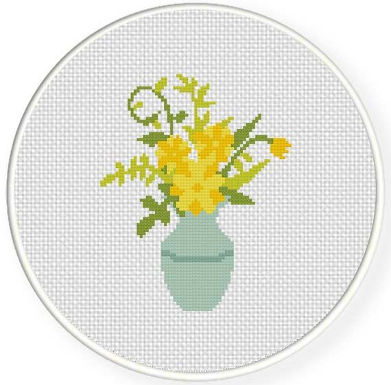 FREE for March 13th 2014 Only - Yellow Flower Bouquet Cross Stitch Pattern
