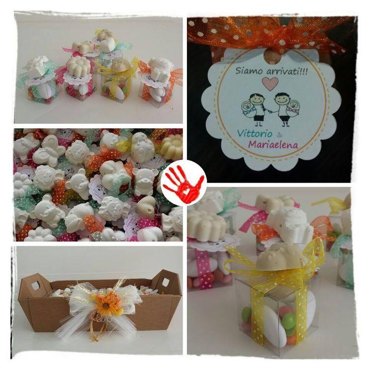Confettata con saponi profumati a forma di animaletti realizzati a mano