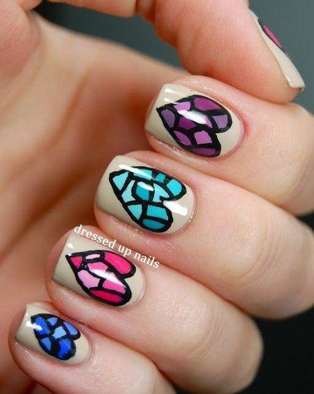 Nails #hearts #blue #red #pink #green #purple #love #nails #nailpolish #naillacquer #nailart - bellashoot.com #black