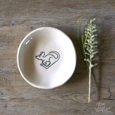 Bush Prints Collection ~ little roo porcelain bowl    A collaboration between artist Renée Treml and Kim Wallace Ceramics ~ Handmade Australian Ceramics
