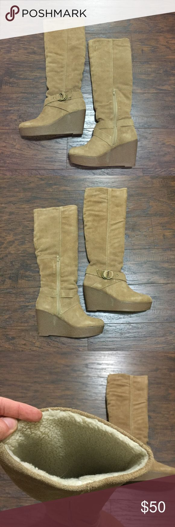 """Suede knee high wedge boots Aldo light brown knee high boots in super soft suede with decorative buckle. Interior fleece lining. Rubber wedge heels measure 3.5"""" at height, including a 1"""" platform throughout. Slip-on with inside lower zipper. Like new, barely worn (although I love them...). Size 8. Aldo model """"Neely"""", originally purchased for $140, will ship in original box. Aldo Shoes Heeled Boots"""