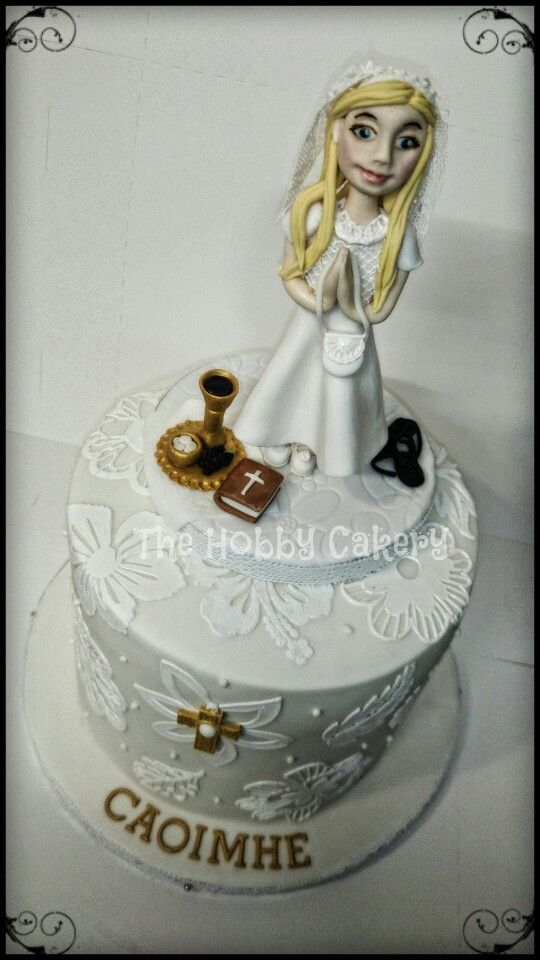 White First Holy Communion cake personalised cake topper girl The Hobby Cakery
