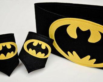 Deluxe Batman Felt Wrist Cuffs and Belt - Superhero Cuffs Superhero Belt for children and many adults