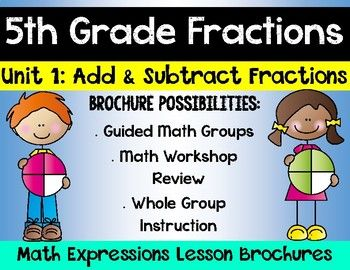 **Aligns with 5th Grade Houghton Mifflin Harcourt Math Expressions Unit 1** This product aligns with the Houghton Mifflin Harcourt Math Expressions Series Unit 1. This product includes math brochures for Unit 1 lessons 1-12, adding and subtracting fractions.