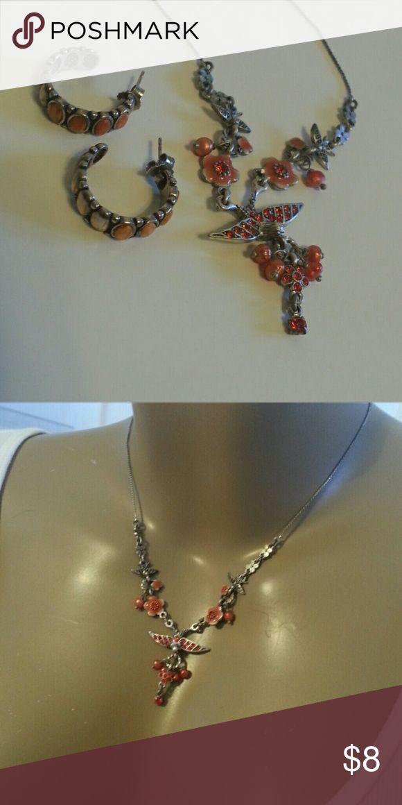 Danish Design Orange Necklace Earring Set Dangle choker 8 inch necklace w/orange ceramic 1 inch hoop earrings. NWOT. Pilgrim Jewelry Necklaces