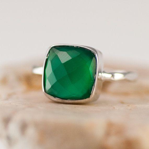 Groene Onyx Ring Solitaire Ring - Zilver - groene steen - stapelen Ring - Sterling Silver Ring - kussen gesneden Ring Ring