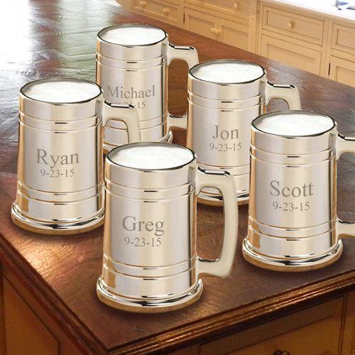 Groomsmen Gift set of 5 Personalized Gunmetal Beer Mugs