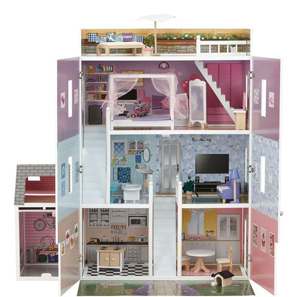 Want New Mamakiddies Tall Hampton Barbie Wooden Dolls House With Free Furnitures Doll