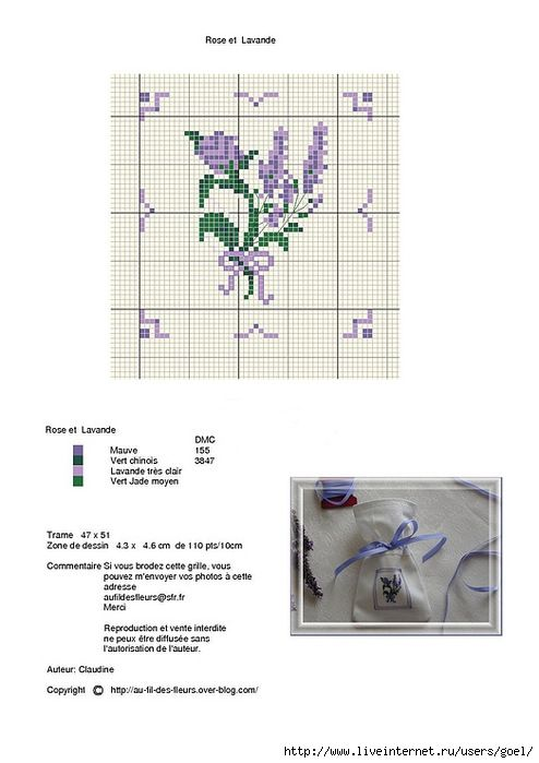Lavender cross stitch motif with key on the same page!
