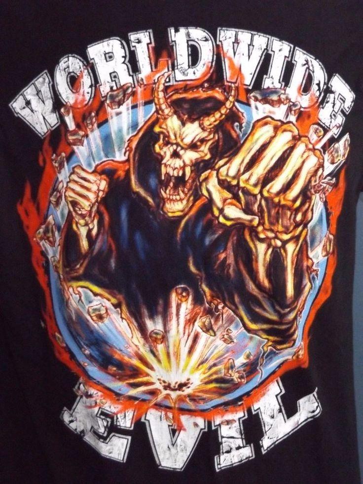 WWE Wrestling Undertaker Worldwide Evil Graphic Men's Black Shirt L WWF WCW nWo #WWE