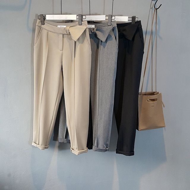 2017 весенняя мода женщины твердые карандаш брюки серый полная длина новый черный работа офис брюки черные брюки с высокой талией khaki