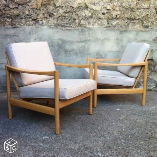 Paire des fauteuils beiges à la scandinave Ameublement Paris - leboncoin.fr