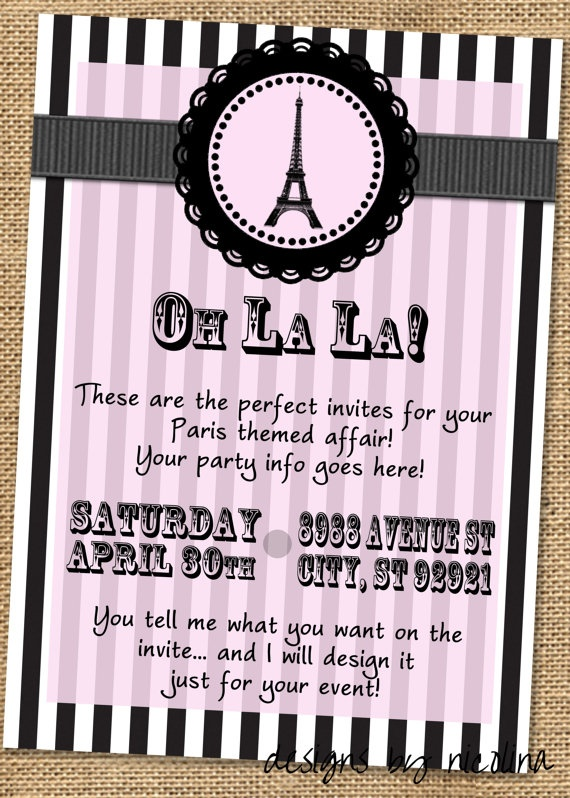 Paris Theme Pink and Black PRINTABLE Party by designsbynicolina, $12.00