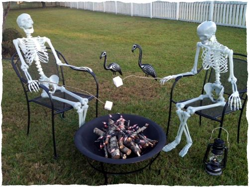 skeletons around a fire pit fire pitshalloween yard decorations skeletonspartieshtml - Halloween Lawn Decorations